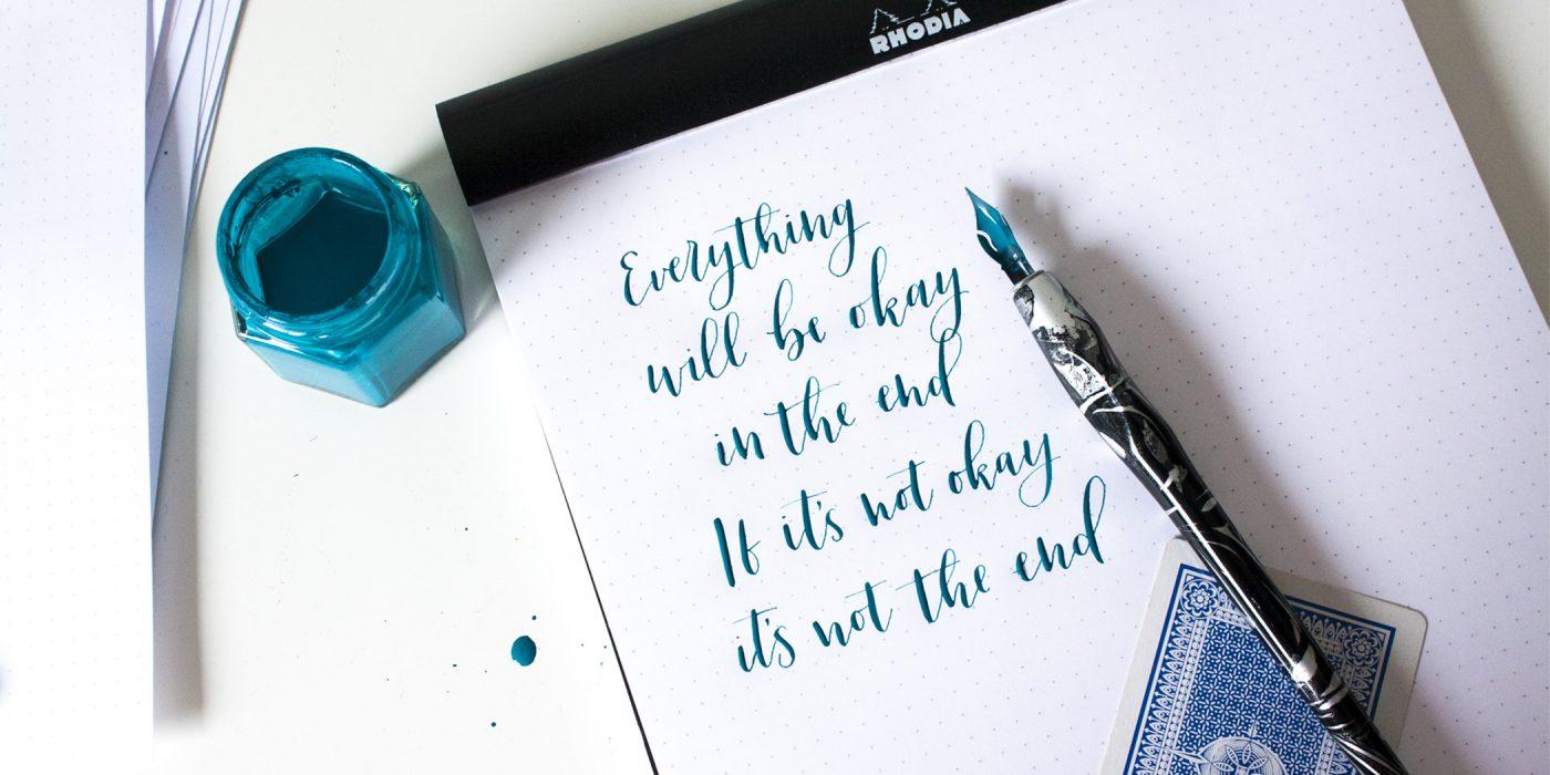 Quote in kalligrafie