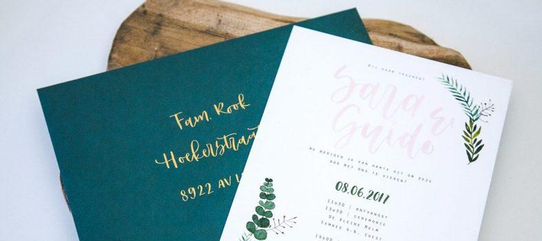 Trouwkaart custom handgeschreven brushlettering