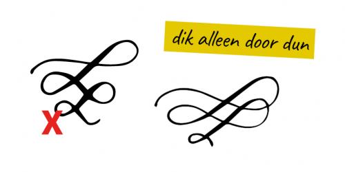 Basisregel bij flourishing kalligrafie