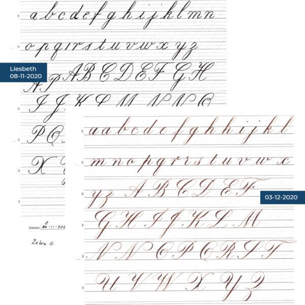 Voor en na kalligrafie cursus Liesbeth