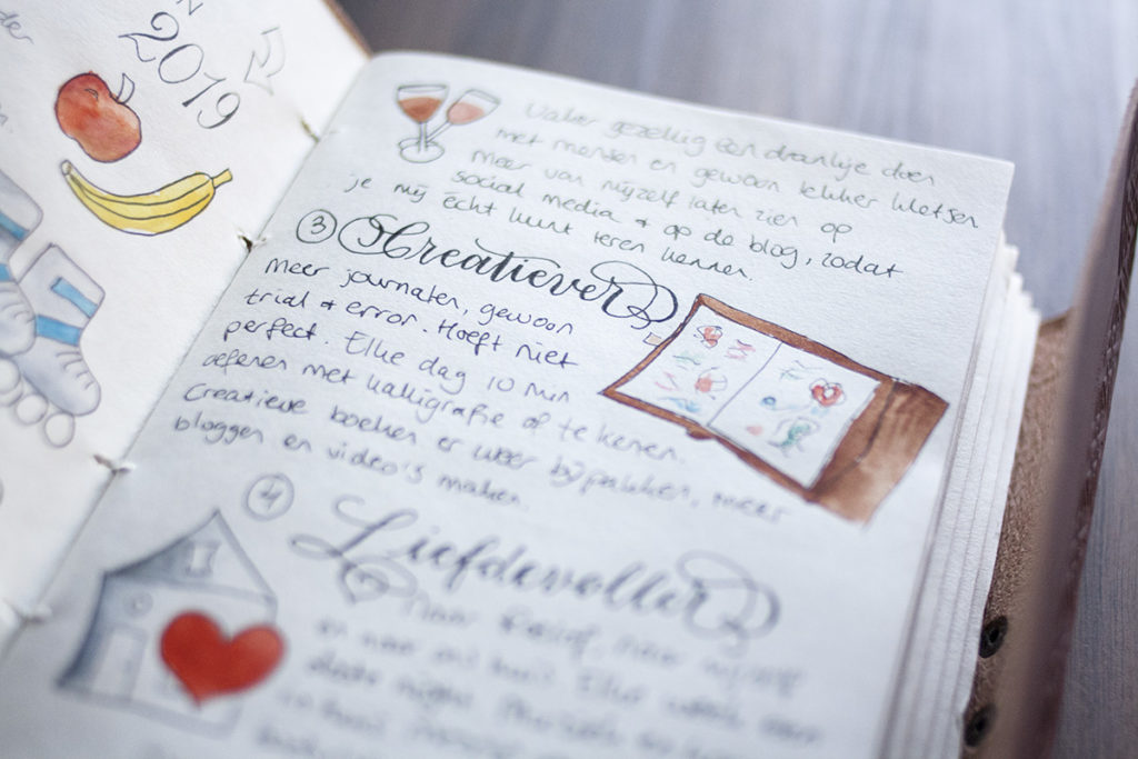 Creatief journal kalligrafie