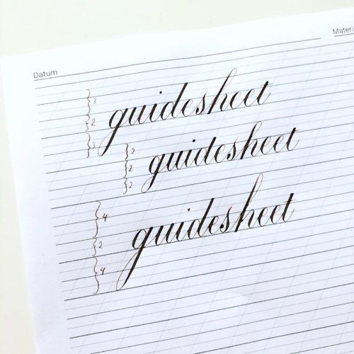 Guidesheet hulplijnen kalligrafie Copperplate