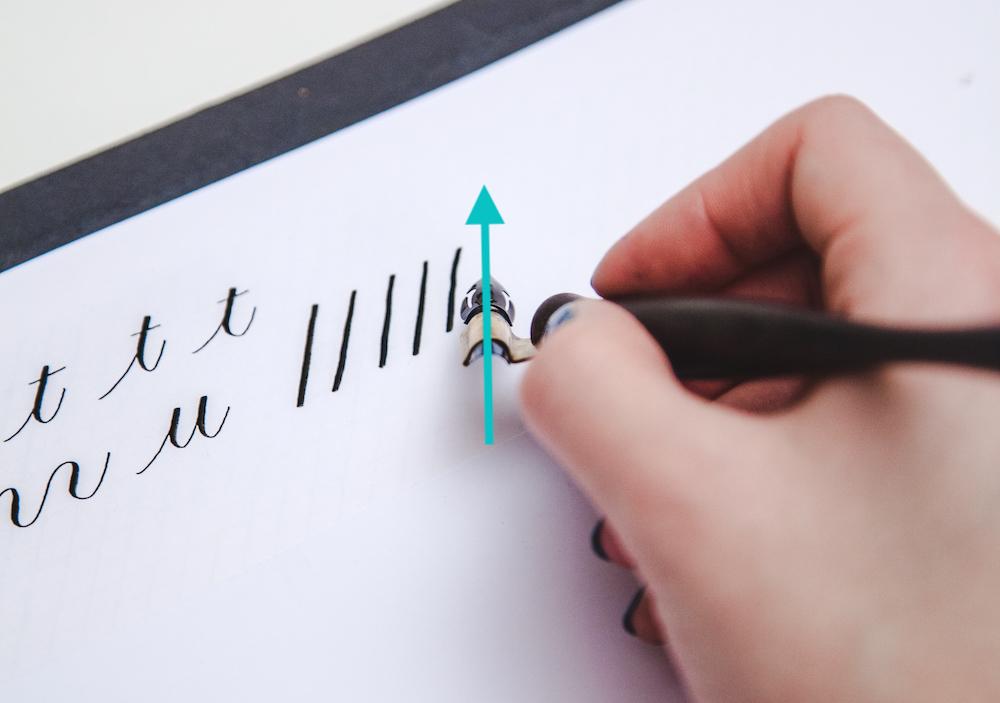 Copperplate kalligrafie houding