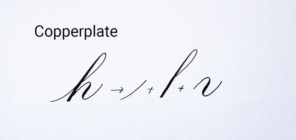 Kalligrafie Copperplate basisvormen