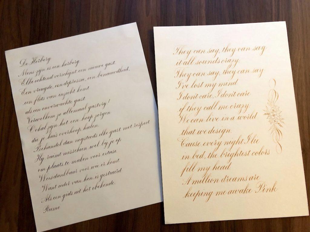 Copperplate Zwelschrift kalligrafie werkstukken