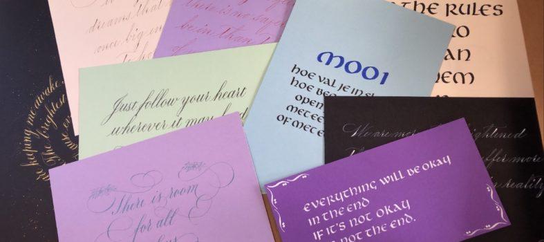 Leerling Kalligraaf werkstukken