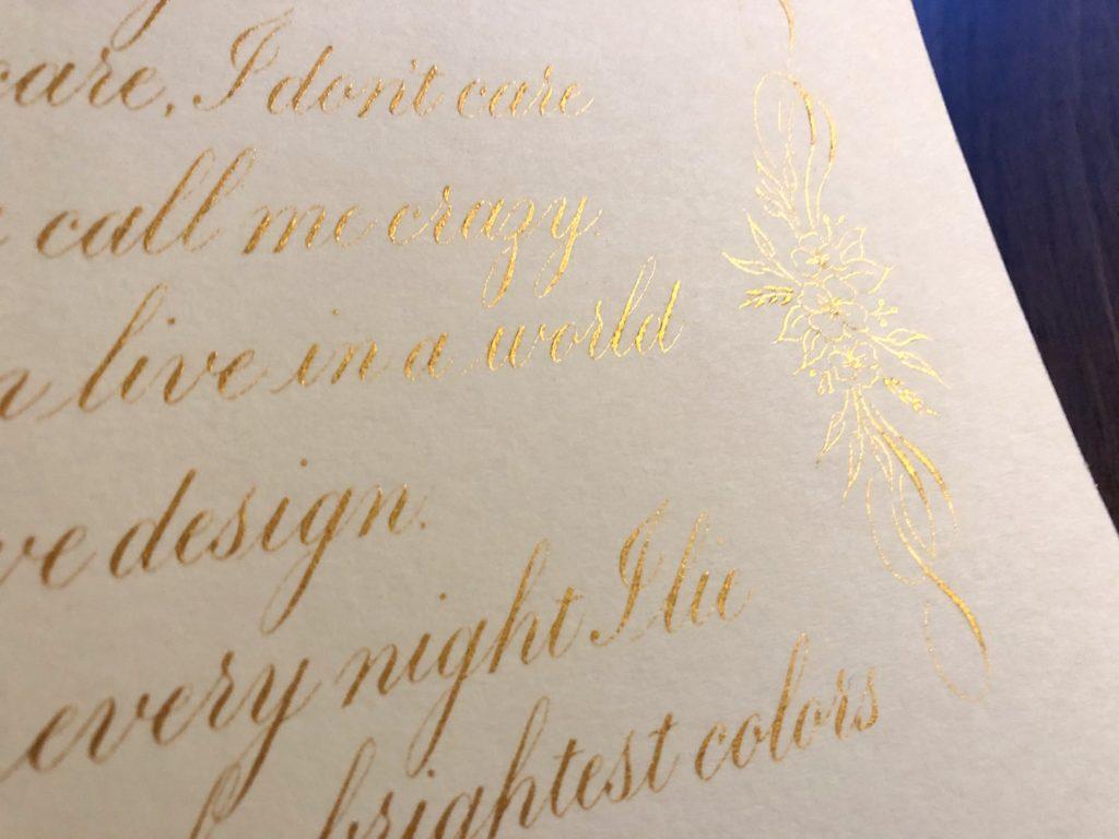 Detail Copperplate kalligrafie werkstuk