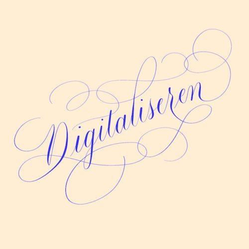 Digitaliseren kalligrafie lettering drukwerk