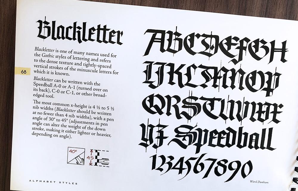 Blackletter gothic kalligrafie geschiedenis