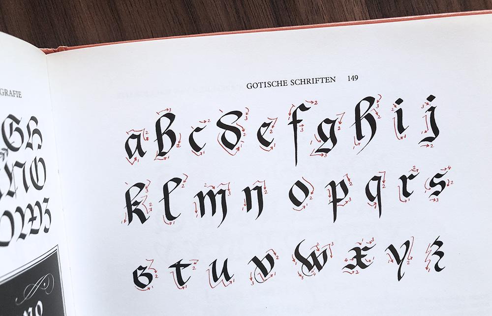 Gotisch alfabet schrift kalligrafie geschiedenis