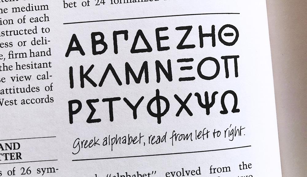 Grieks alfabet kalligrafie geschiedenis