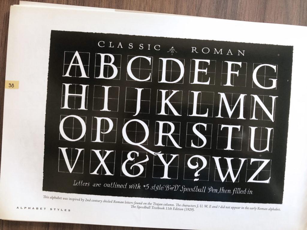 Roman Capitals kalligrafie geschiedenis