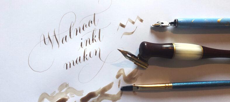 Zelf walnoot inkt maken kalligrafie