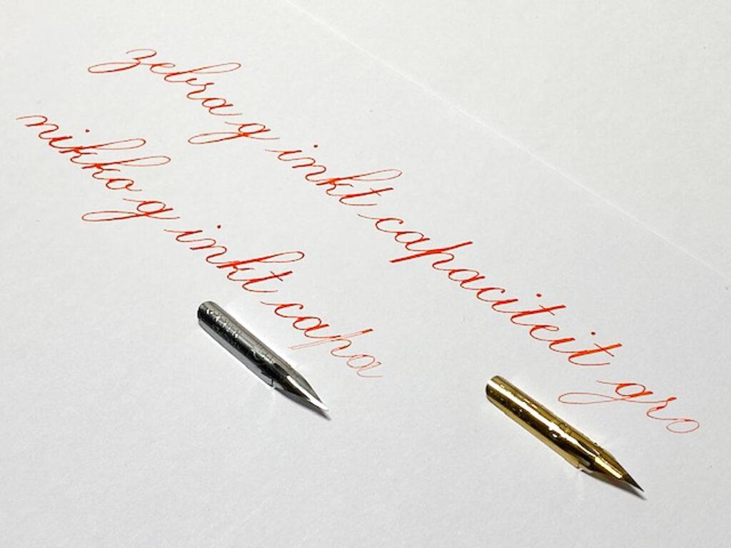 Kalligrafie - Zebra G vs Nikko G penpunt inkt capaciteit