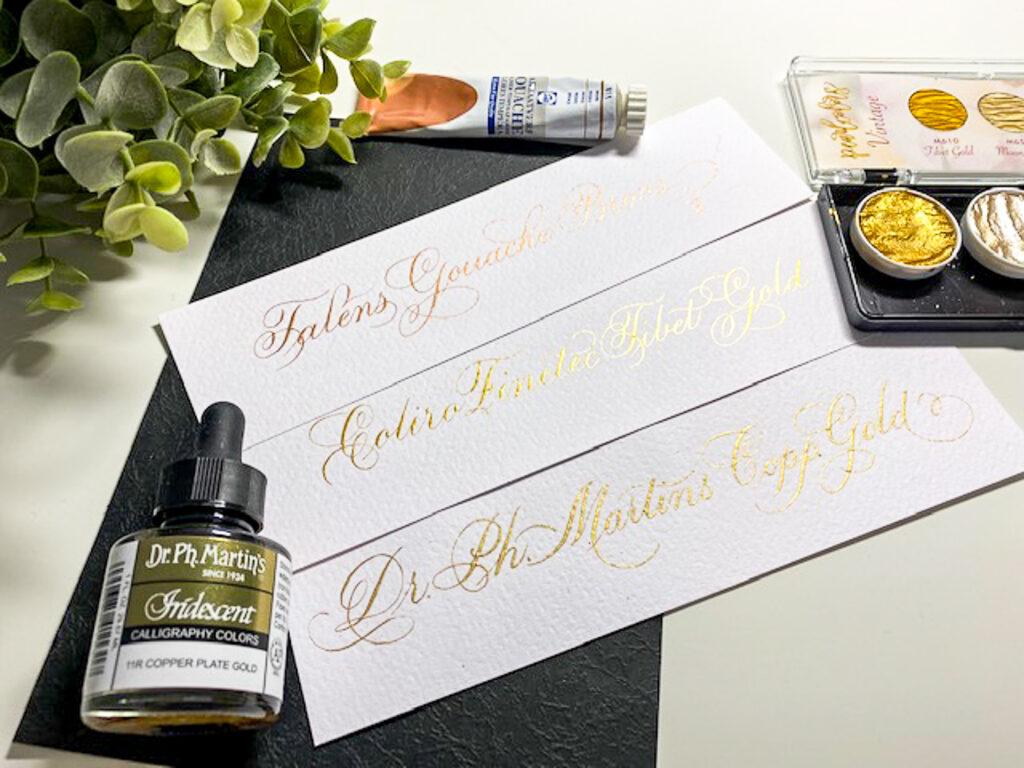 Kalligraferen gouden inkt