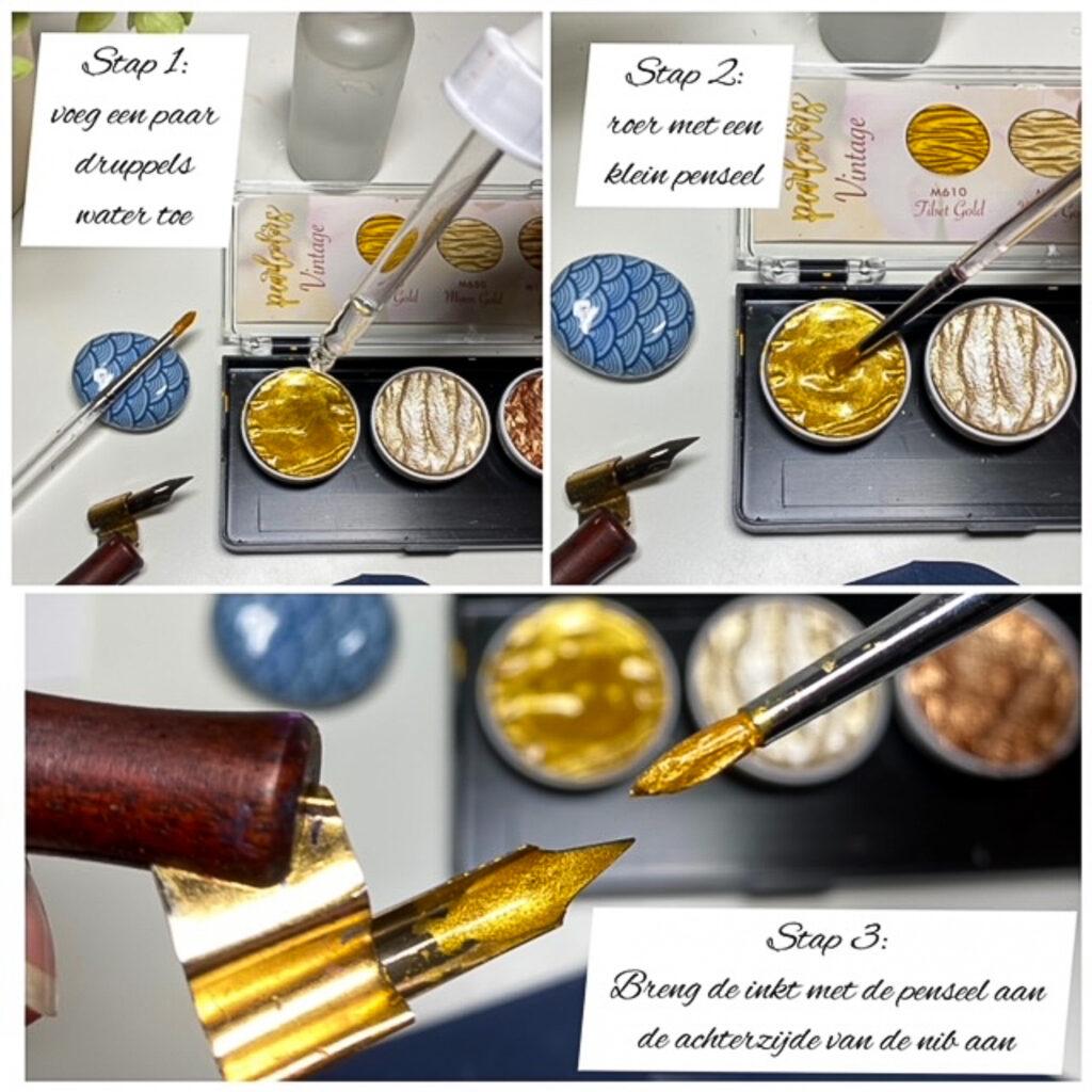 Kalligraferen met finetec coliro pearlcolors goud