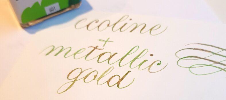 Ecoline kalligrafie met goud