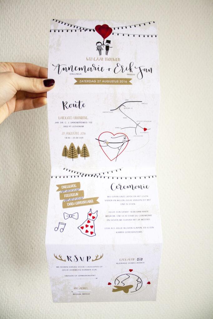 Trouwkaart kalligrafie ontwerp