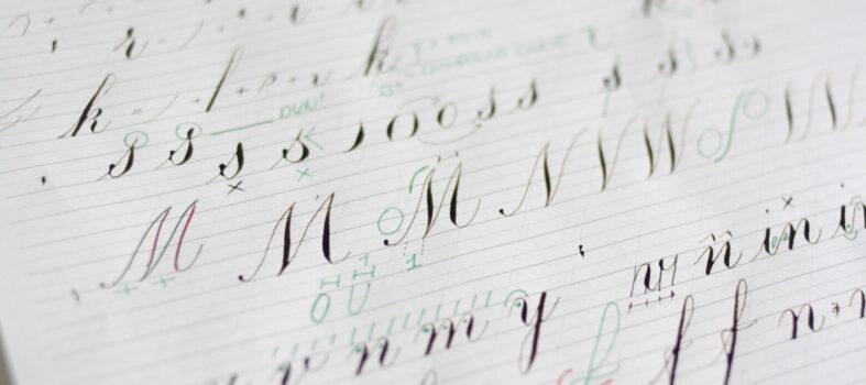 Kalligrafie cursus aantekeningen