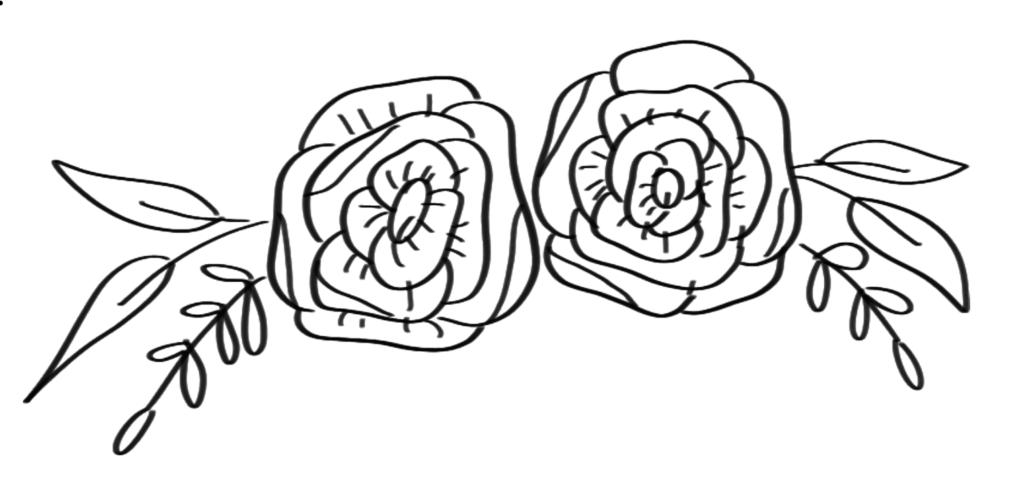 Flourishing illustraties kalligrafie stap 3 blaadjes