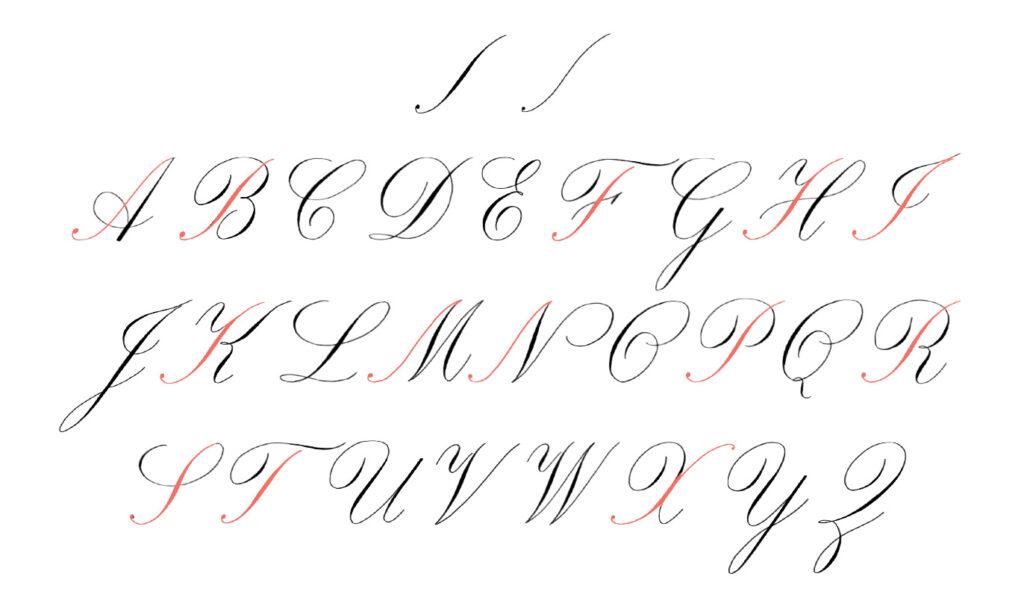 Krullen maken bij hoofdletters die de 'capital stem' hebben - kalligrafie