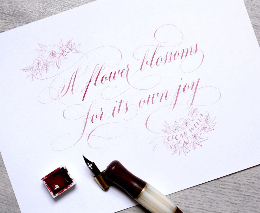 Flower blossoms for its own joy kalligrafie