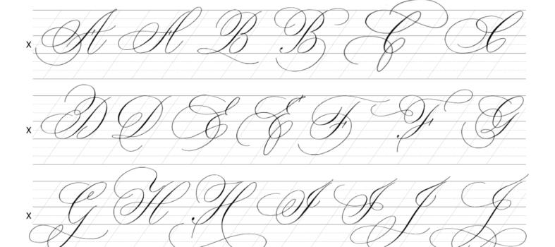 Kalligrafie flourishing leren kapitalen