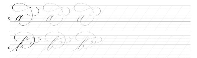 Werkblad voorbeeld flourishing kalligrafie
